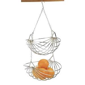 Rsvp Chrome 2 Tier Hanging Wire Fruit Basket New Kitchen Hanging Baskets