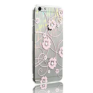 Iphone 6s Case, Ultra-thin Shining Floral Design Handmade Rhinestone Transparent Gradient Soft TPU Cover Case Slim Fit for Iphone 6/6s 4.7 Inch (07 Clear Pink)