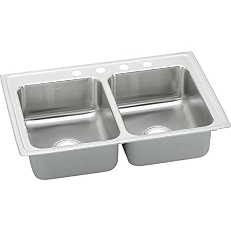 "Elkay LRQ25194 18 Gauge Stainless Steel 25"" x 19.5"" x 7.625"" Double Bowl Top Mount Quick-Clip Kitchen Sink with 4 Faucet Holes"