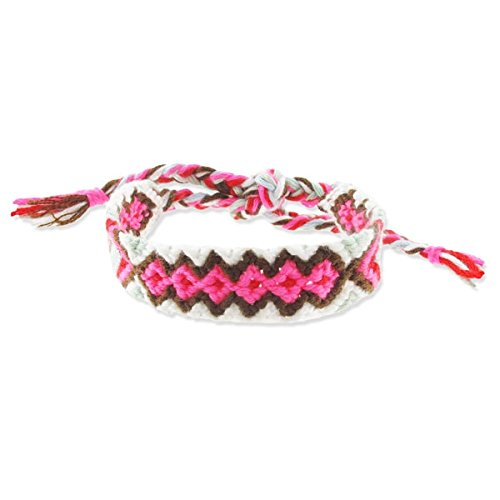Bracciale brasiliano coton 14 mm Marrone/Rosa/Mint