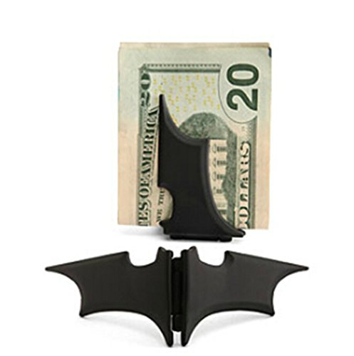 GuDeKe Unisex's Zinc Alloy Man Batman Batarang Money Clip Black