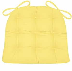 Dining Chair Pad With Ties Yellow Cotton