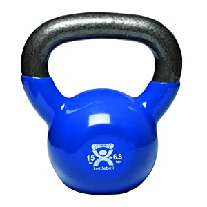 Cando 10-3194 Blue Kettle Bell, 15 lbs Weight