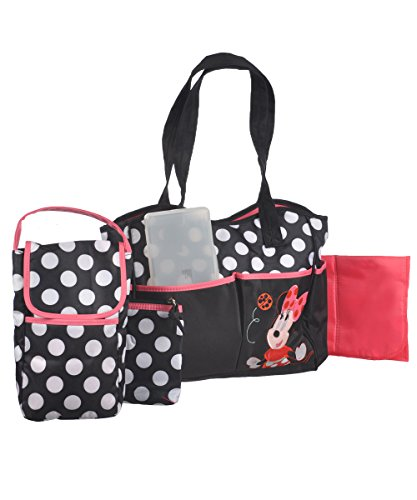 Disney 5 In 1 Diaper Tote Bag Set, Minnie front-89742