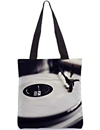 Snoogg Vinyl Record Player Black And White Digitally Printed Utility Tote Bag Handbag Made Of Poly Canvas