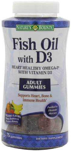 Nature 39 s bounty fish oil with d3 gummies 75 count for Nature made fish oil gummies