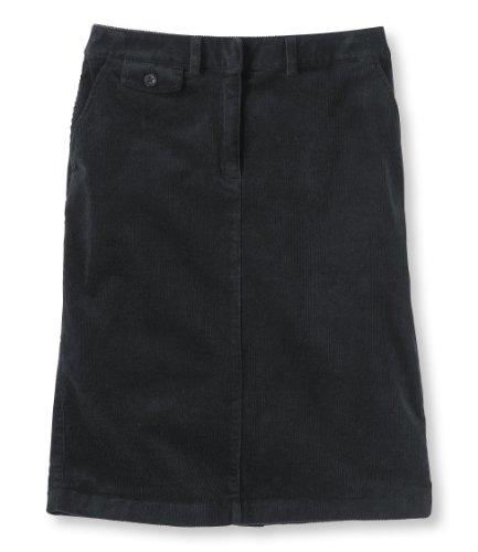 L.L.Bean Women'S Bayside Stretch Corduroy Skirt Black 18 Ite