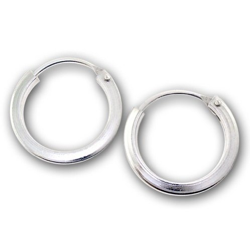 Pair of Sterling Silver Small Plain Sleeper Hoop Earrings with Hinge (Size: 14mm x 2mm) Supplied in Gift Bag