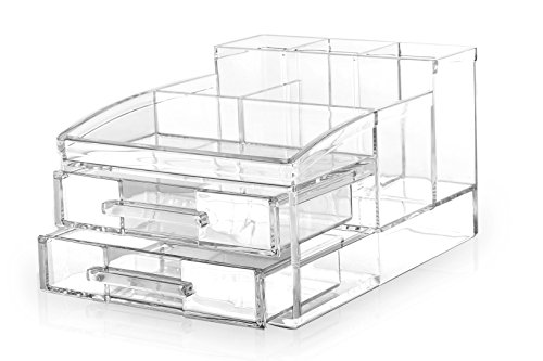 BINO 'The Free Spirit' 8 Compartment Acrylic Makeup and Jewelry Organizer with 2 Removable Drawers (Removable Acrylic Drawers compare prices)