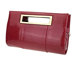 Hoxis Classic Crocodile Pattern Faux Patent Leather Cut it out Clutch with Shoulder Strap Womens Handbag (Burgundy)