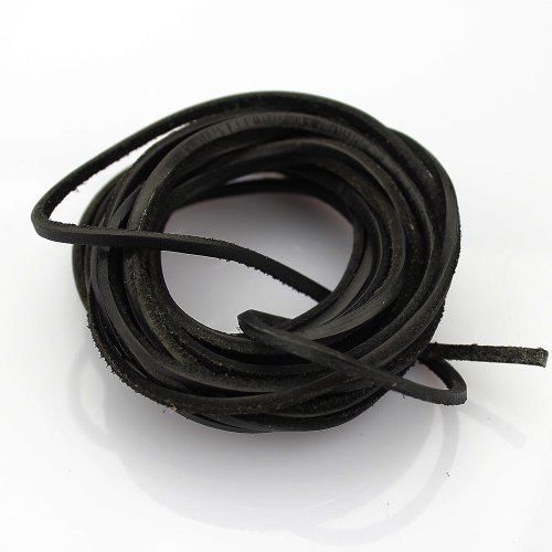 Lowest Prices! LolliBeads (TM) 3mm Flat Genuine Leather Cord Braiding String Black (5 Yards)