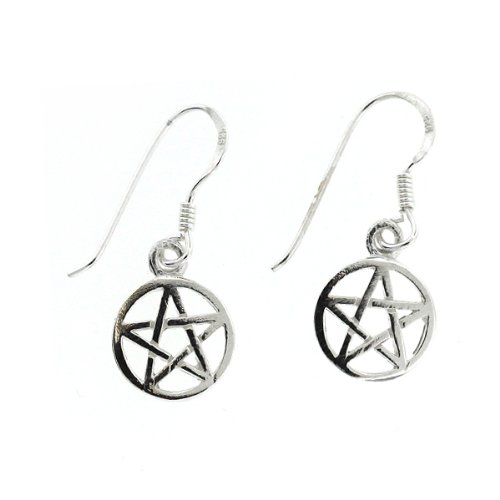.925 Sterling Silver Wiccan Pentacle Pentagram French Hook Earrings Nickel Free