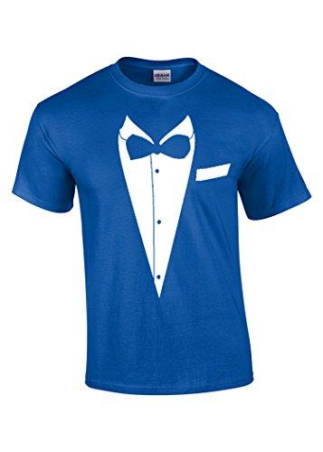 Zoobie Apparel Tuxedo Shirt | Funny Tuxedo Black Tie | Wedding, Groom, All Occasions Unisex T-shirt (Royal Blue-Large) (Blue Tuxedo T Shirt compare prices)
