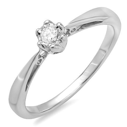 0.05 Carat (ctw) Sterling Silver Solitaire Round Diamond Ladies Bridal Engagement Promise Ring