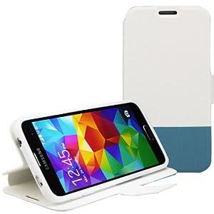 Bestwe PU Leder Schutzhülle Flip Tasche Hülle für Samsung Galaxy S5 Wallet Case mit Standfunktion (Weiß/Blau)