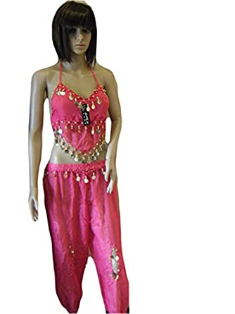 Pink Net/Chiffon style Belly Dancing Arabian Fancy Dress Trouser & Top with Coin detailing one size fits 8-12 By Fat-catz-copy-catz