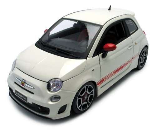 BBurago 18-11028 - Diamond Collezione 1:18 Fiat 500 (2007) Abarth, wei&#223;