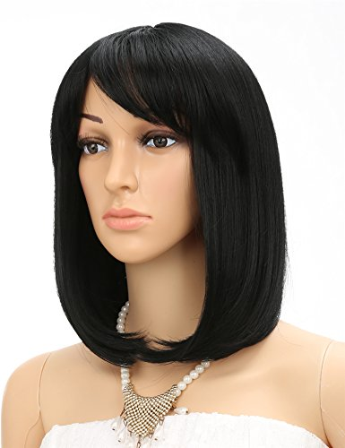 [Golden Rule Bob Wig Cosplay Straight Wig for Women (Black Color)] (Black Bob Wig With Bangs)