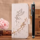 M LV HTC One X OneX Leather Diamond Bling crystal Folio Support Smart Case Cover With Card Holder & Magnetic Flip Horizontals - Angel Lily Flower