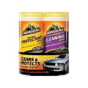 ArmorAll Original Protectant Wipes (50 wipes) plus Cleaning Wipes (50 wipes) - Total 100 WIPES