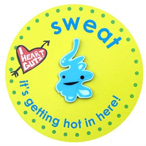 Sweat Gland Lapel Pin It's Getting Hot In Here I Heart Guts