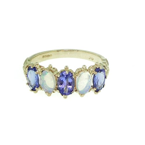 18ct Yellow Gold Ladies Tanzanite and Opal Ring - Size L - Free Delivery - Finger Sizes L to Z Available
