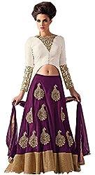 Clickedia Women's Silk Lehenga Choli(M1547 Purple Lehenga suit_Purple & White_Free Size)