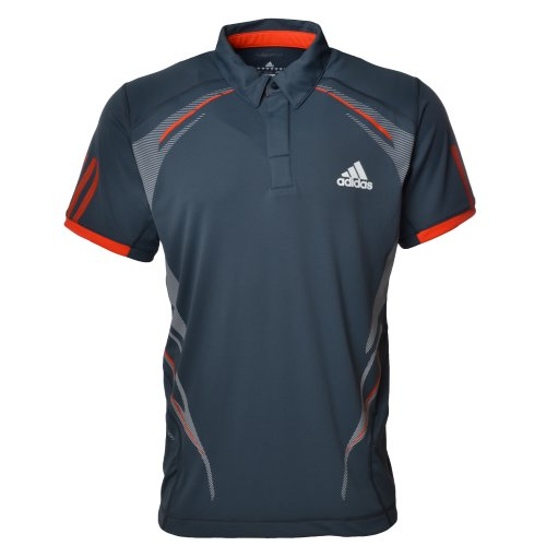Mens Adidas Tennis Barricade Traditional Polo Shirt Top - Dark Onix - X22379