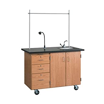 "Diversified Woodcrafts 4332K Solid Oak Wood Mobile Instructor's Desk with Storage, ChemGuard Top, 36"" Width x 84"" Height x 16"" Depth"