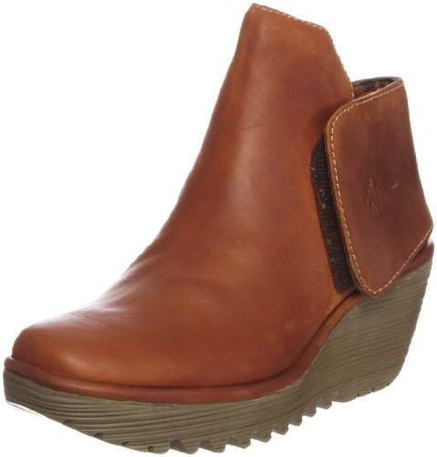 Fly London Women's Yogi Leather Camel Platforms Boots P500046029 4 UK
