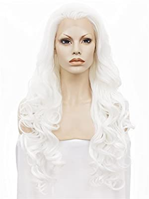 Imstyle Long Wavy Lady Gaga Hairstyle White Cosplay Heat Resistant Synthetic Lace Front Wig