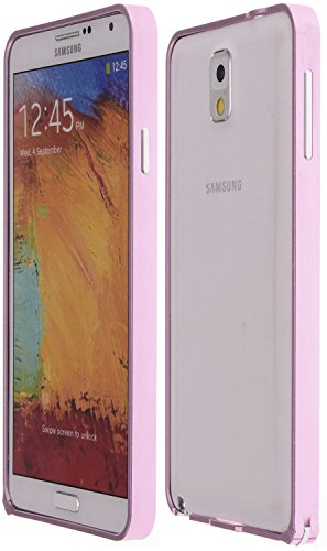 Wild Wolf Ultra-Slim Aluminum Alloy Bumper Frame Case With Clasp Closure Armor Metal Buckle Metal Bumper Case (Note 3, Pink)