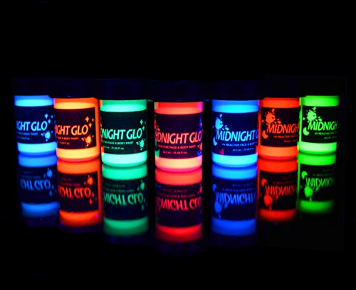 UV Neon Face & Body Paint Glow Kit (7 Bottles .75 oz. Each) - Top Rated Blacklight Reactive Fluorescent Paint - Safe, Washable, Non-Toxic, By Midnight Glo (Face Grease Paint compare prices)