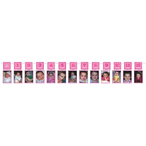 "Amscan 1st Birthday Glitter Photo Garland, 12"", Pink"