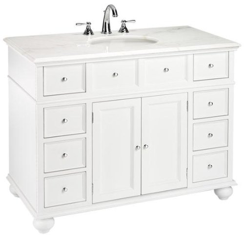 Hampton Bay Single Sink Cabinet Vanity With White Granite Top 35 H X 44 W X 22 D White Granite
