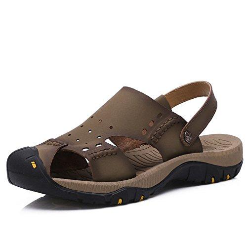 sandali di cuoio casuali degli uomini/sandali esterni/Baotou cava/suola in gomma Bottomed/Indossare sandali di smorzamento deodorante-A Lunghezza piede=25.3CM(10Inch)