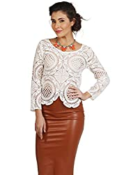 Fashion Fiesta Women's Casual Top (TOPLAM0016WHI05-L_White_Large)