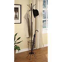 Brown Finish Kings Brand Metal Coat Rack Hat Stand  With Umbrella Holder