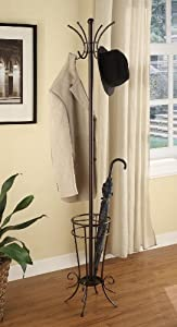 Kings Brand Brown Finish Metal Coat Rack & Hat Stand With Umbrella Holder