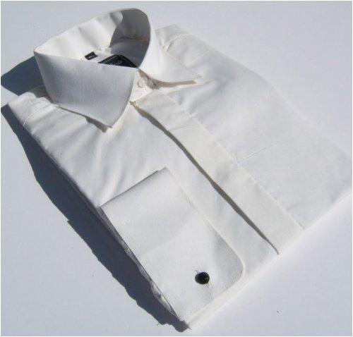 Mens Cream Standard Collar Evening Wedding Plain Shirt