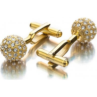 Shimla SH 104 IP Gold Stainless Steel Cufflinks- Gold Fire Ball with Clear CZ Crystals