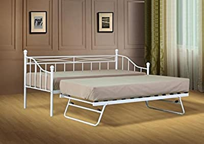 2ft6 Small Single White Paris Metal Daybed and Trundle with Tanya Mattresses