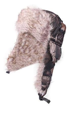 Mens Breathable Woodlands Camouflage Shower Proof Hunter Fake Fur Trapper Ski Hat Dark Camo 58cm