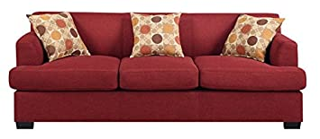 Red Fabric Sofa by Poundex