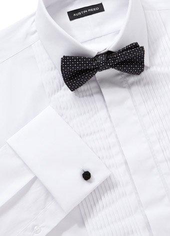 Austin Reed White Classic Collar Pleat Dress Shirt REGULAR MENS 15.5