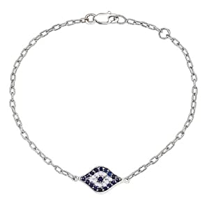 Unique 14k White gold White diamonds and Blue Sapphires Evil Eye charm bracelet