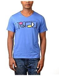Kuroki Nerd - Mens Blue Colour Round Neck Tshirts - By Nirvana