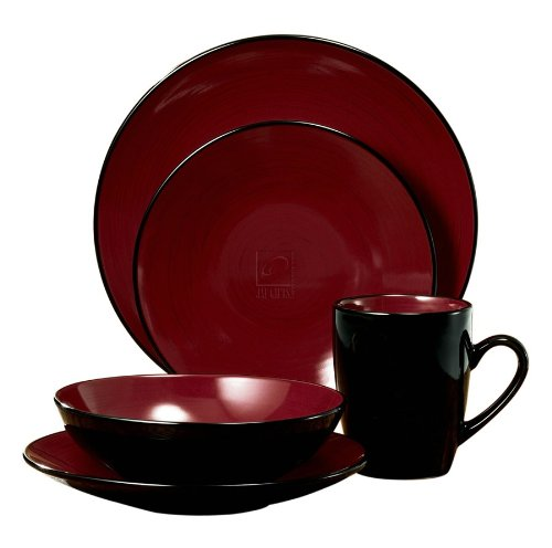 CCA International 16pc duo Dinnerware set (Red And Black Dishes compare prices)