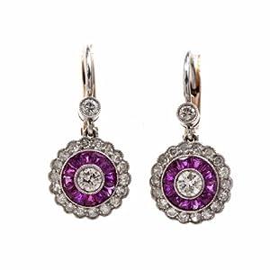 Vintage Diamond Ruby Platinum 18k Gold Dangle Earrings