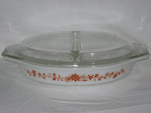 2 Piece Set - Vintage 1965 Pyrex Floral Promotional 1 1/2 Quart Divided Oval Cinderella Casserole Baking Dish w/ Lid USA (Corelle Oval Serving Plate compare prices)